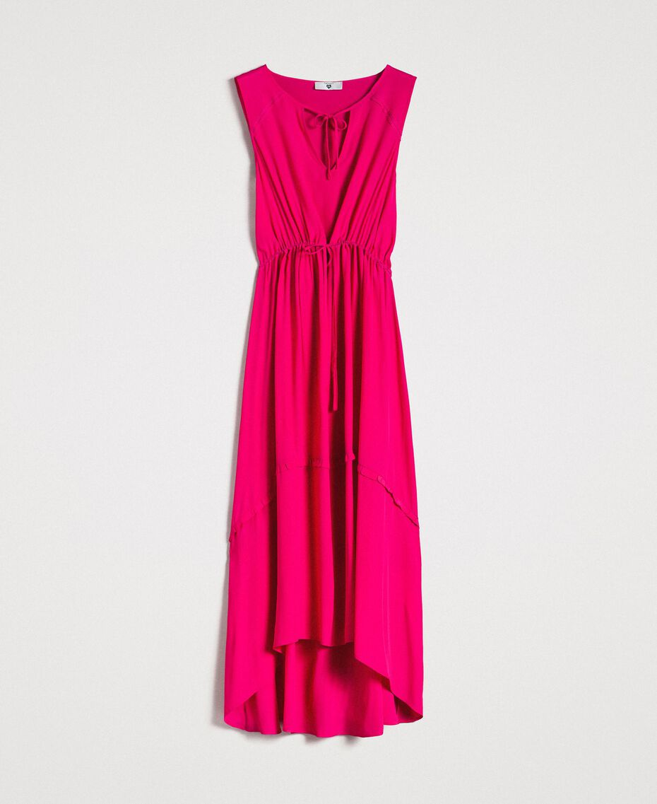 "Crepe de Chine long dress ""Psychedelic Pink"" Fuchsia Woman 191LB2LAA-0S"