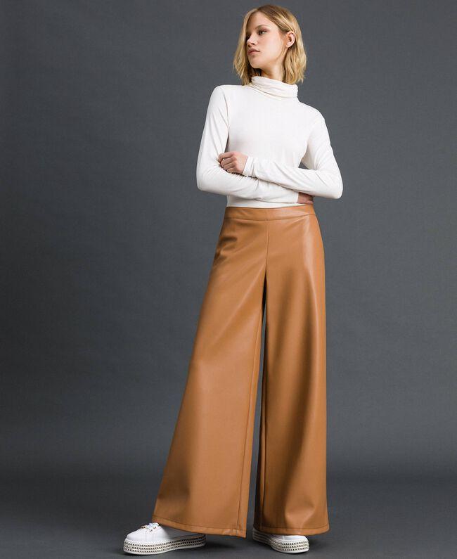 Pantalon palazzo en similicuir Beige «Camel Skin» Femme 192LI2ECC-01