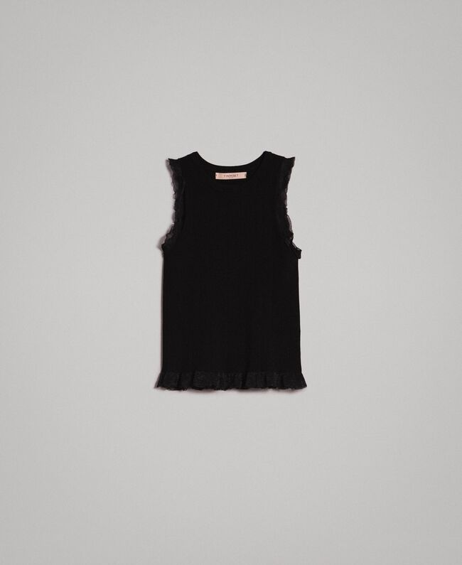Ribbed top with ruffle Black Woman 191TT3043-0S