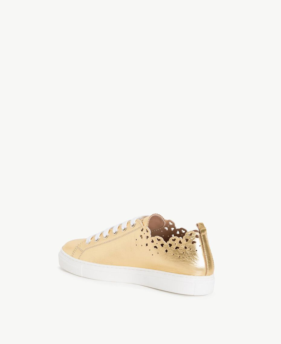 TWINSET Scalloped sneakers Gold Yellow Woman CS8TF1-03