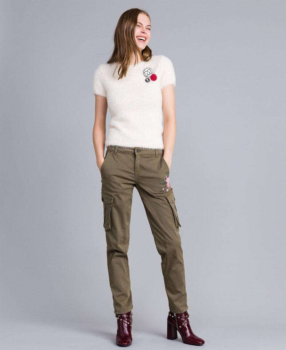 Pantaloni combat slim in cotone Verde Alpino Donna JA82ED-02