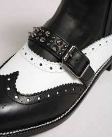 Leather ankle boots with studded straps Optical White / Black Woman 192TCP10Q-04