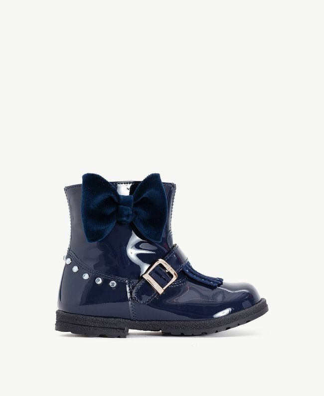 Fringed biker boots Blue Night HA76DC-01