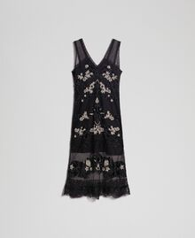 Plumetis tulle dress with floral embroidery Black Woman 192TT2042-0S