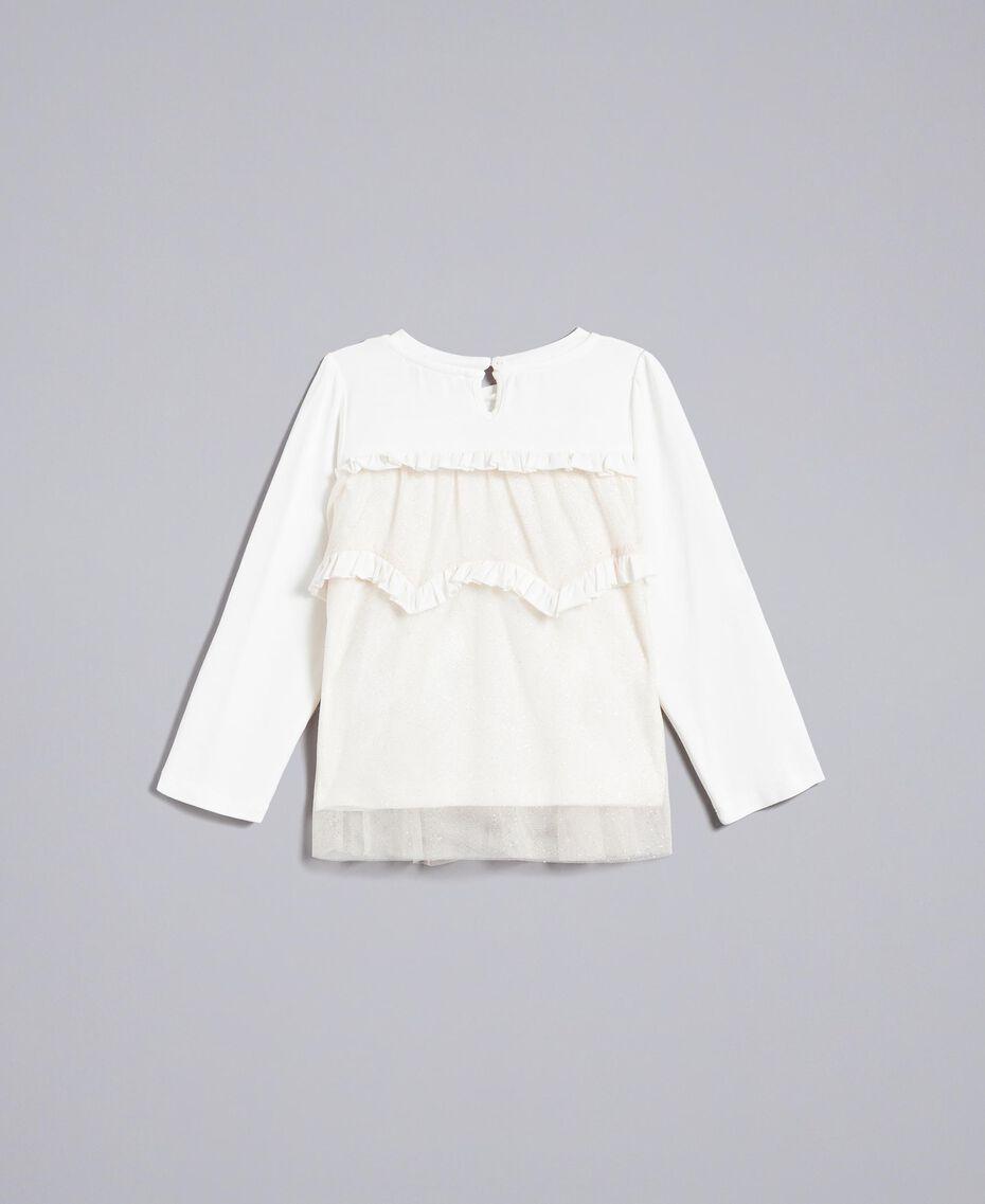 Bluse aus Jersey und Tüll Zweifarbig Weiß / Goldlurex Kind FA82L1-0S