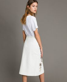 Leather skirt with patch embroidery White Snow Woman 191TT2172-04