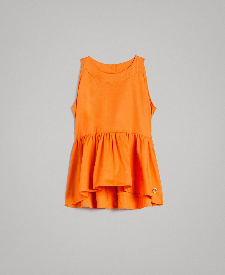 "Top en popeline stretch ""Orange Estivale"" Enfant 191GJ2412-01"