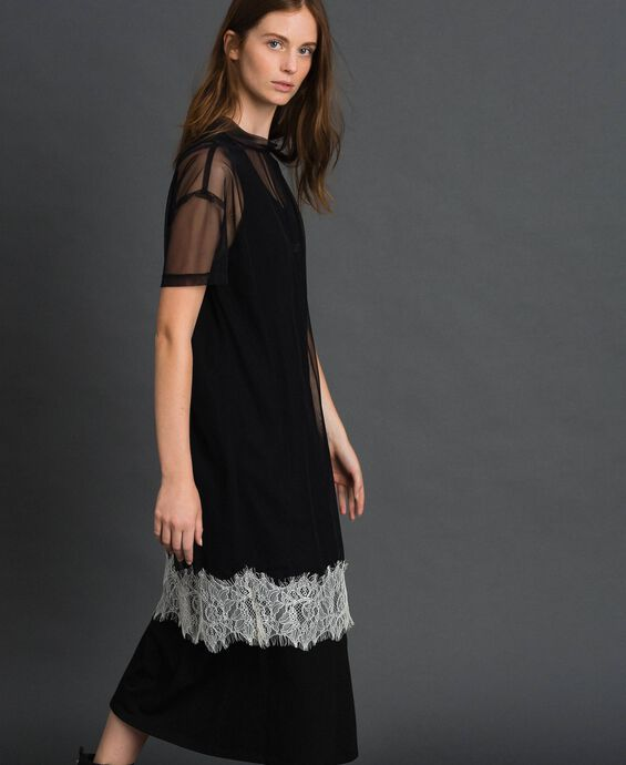 Midi dress with lace flounce and logo