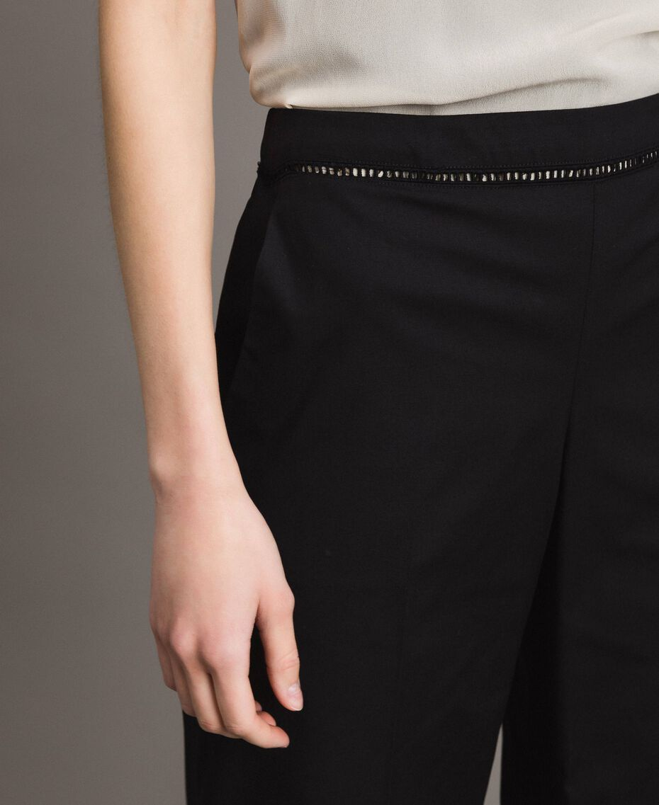 Poplin trousers with embroideries Black Woman 191TT2244-05