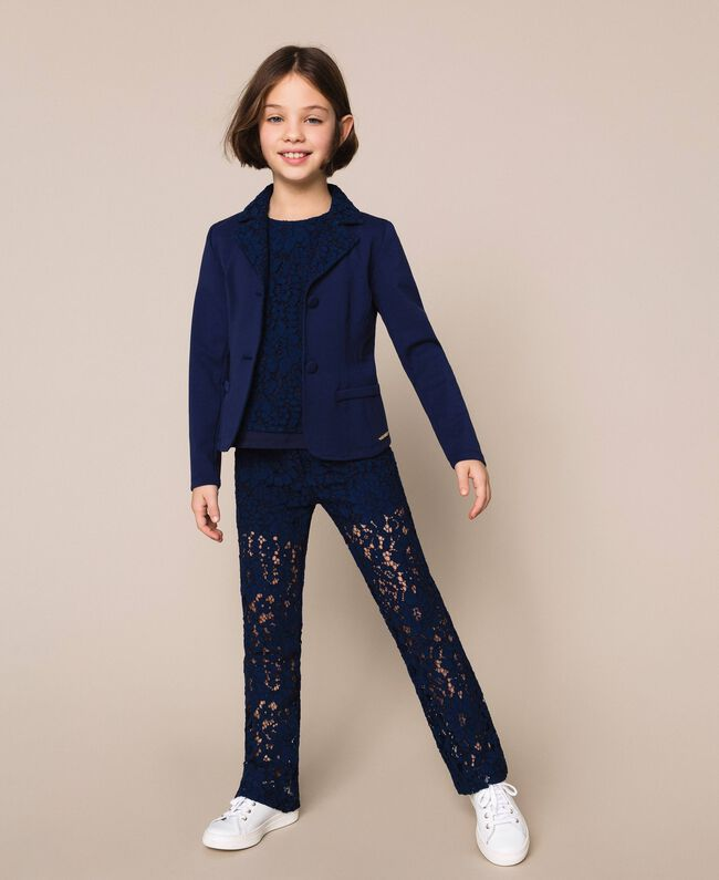 Macramé lace trousers Night Blue Child 201GJ2QL0-0T
