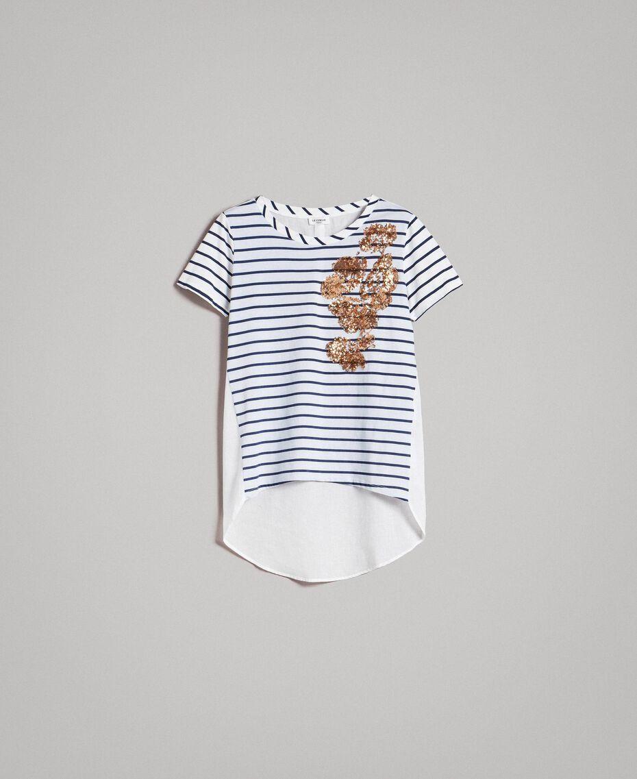 """Gestreiftes T-Shirt mit Pailletten Motiv """"Savannah"""" Beige / Cremeweiß Gestreift Frau 191ST2090-0S"""