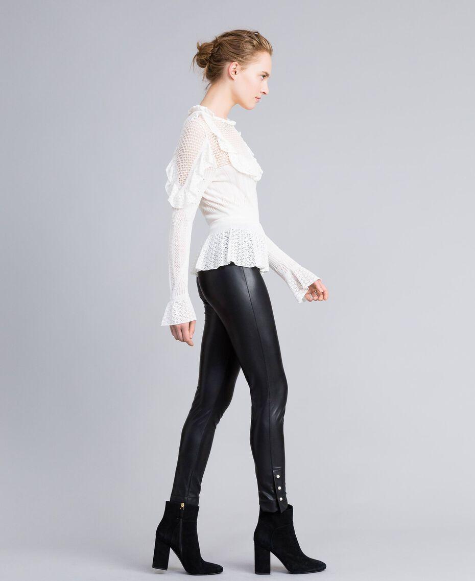 Leggings aus Lederimitat mit Perlen Schwarz Frau PA82AB-02