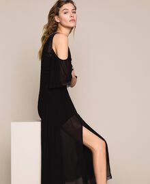Robe longue en crêpe georgette avec broderies et dentelle Noir Femme 201TT2083-02