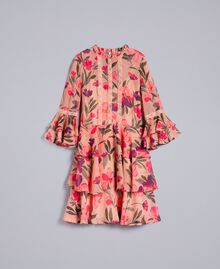 "Kleid aus Chiffon mit Blumenprint Print ""Rosa Tulpe"" Frau TA825R-0S"