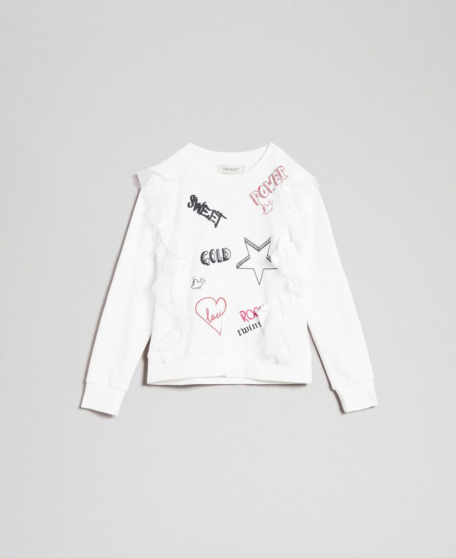 Sweatshirt with tulle frill and print White Child 192GJ2430-0S