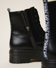 Faux leather combat boots with logo Black Woman 202MCP080-04