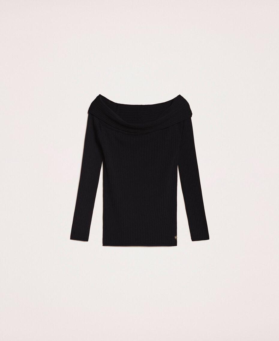 Трикотажная кофта в рубчик с глубоким декольте Черный женщина 201ST3121-0S