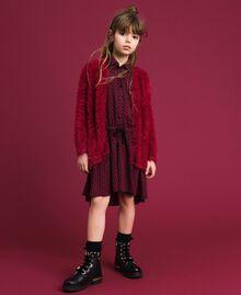 Maxi cardigan in filato effetto pelliccia Rosso Ruby Wine Bambina 192GJ3060-0T