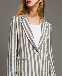 """Veste en lin à rayures bicolores Bicolore Noir / Beige """"Pâte d'Amande"""" Femme 191TT2310-01"""