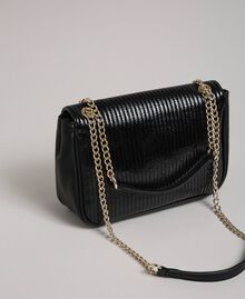 Faux leather shoulder bag with chain and studs Black Woman 192MO8013-03