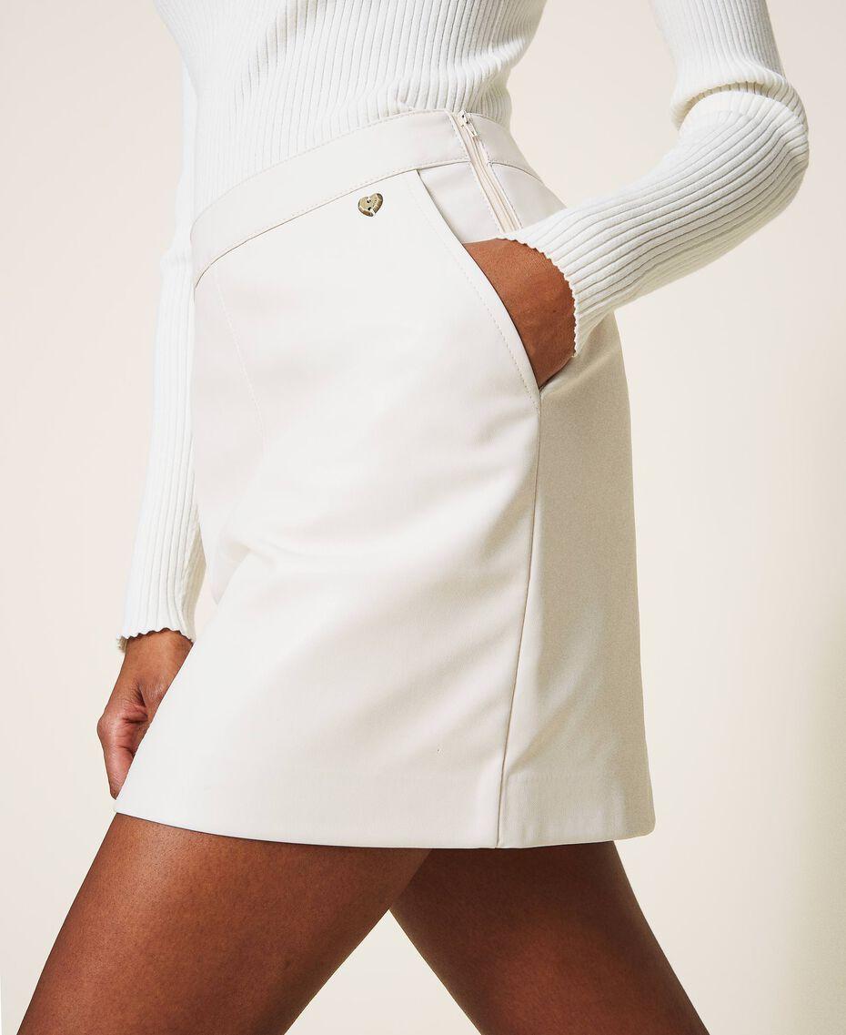 Faux leather mini skirt Creamy White Woman 202MP2093-01