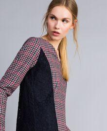 Check flannel and macramé lace dress Grey / Red Check Jacquard Woman SA82FF-04
