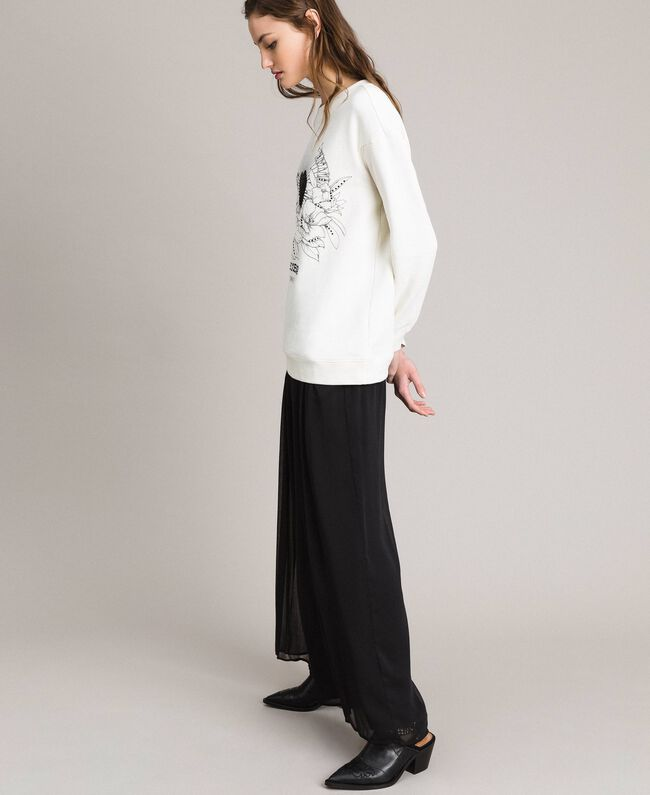 Maxi-Sweatshirt mit Aufdruck und Strasssteinen Mattweiß Frau 191ST2186-04