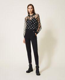 Polka dot tulle and crêpe de Chine sweatshirt Black Polka Dot Print Woman 202ST2063-0T