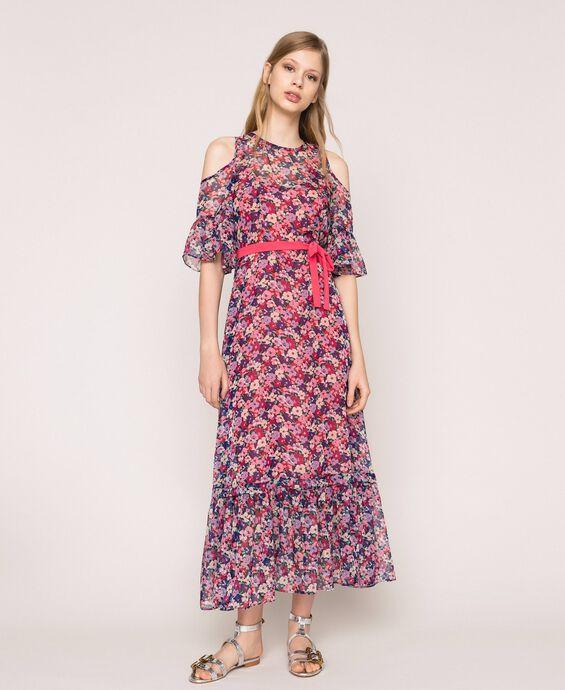 Длинное цветастое шифоновое платье