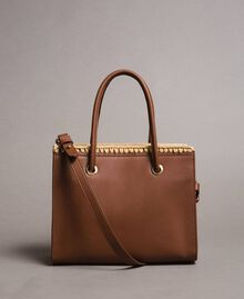 "Faux leather shopping bag ""Earth"" Brown Woman 191MO8091-04"