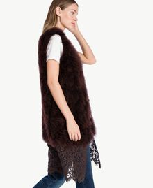 Long fur waistcoat Dark Brown Female PA72RN-03