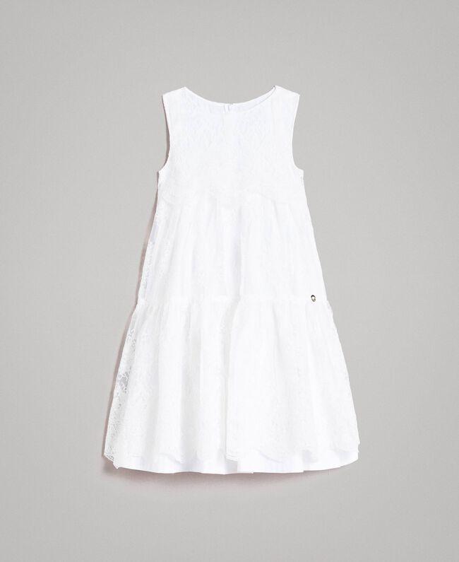 Robe en organza brodé et dentelle Blanc Enfant 191GJ2QB1-01