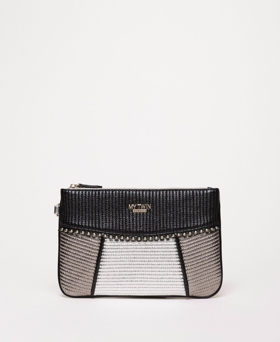 "Multicolour faux leather pochette Multicolour Black / ""Gun Metal"" Grey / Silver Woman 201MA7025-01"