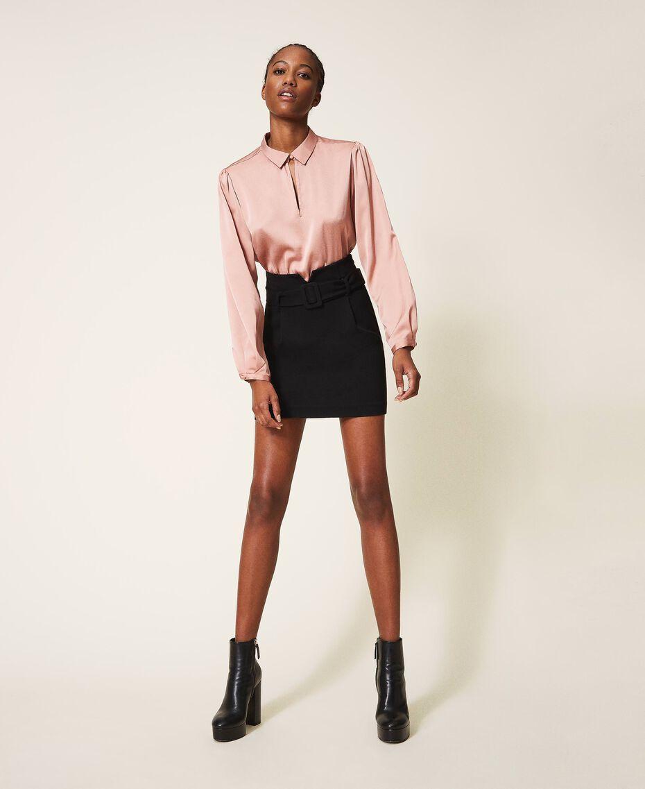 """Robe bicolore avec jupe fourreau Bicolore Noir / Rose """"Vintage"""" Femme 202ST2027-01"""