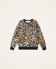 Sweatshirt mit Animalprint Animalier-Print Frau 202LL2ESS-0S