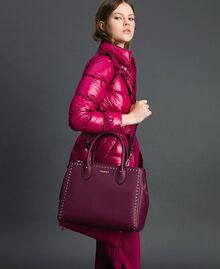 Borsa shopper in similpelle con borchie Rosso Beet Donna 192TA7210-0S