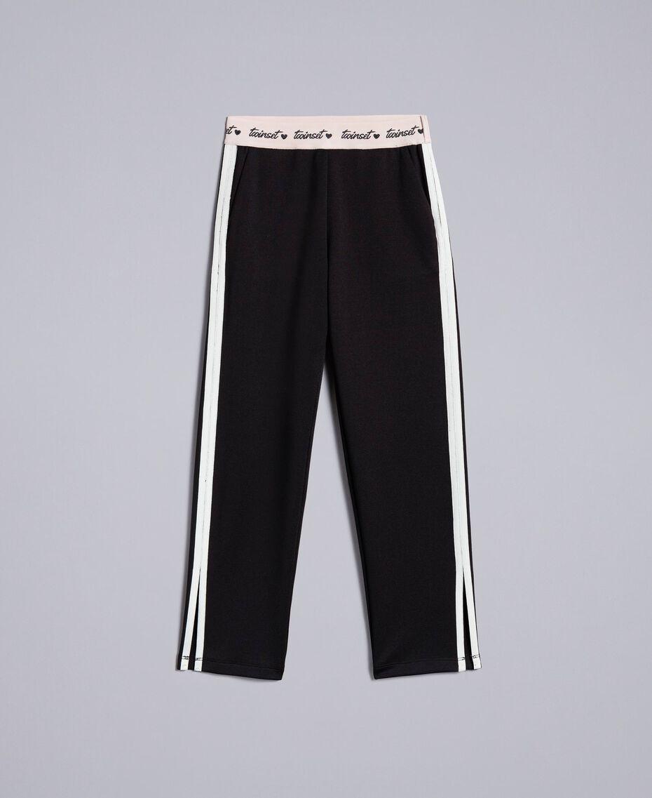 Pantaloni in tessuto tecnico con logo Bicolor Nero / Off White Bambina GA82PP-01