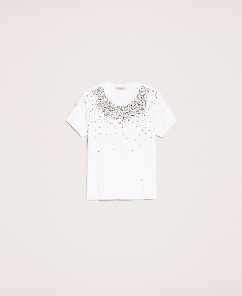 T-shirt with embroidered tulle