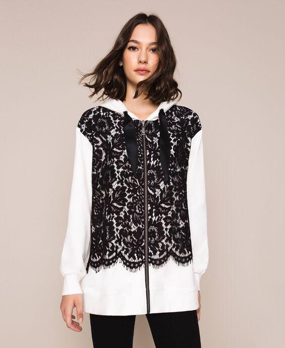 Maxi sweatshirt with lace