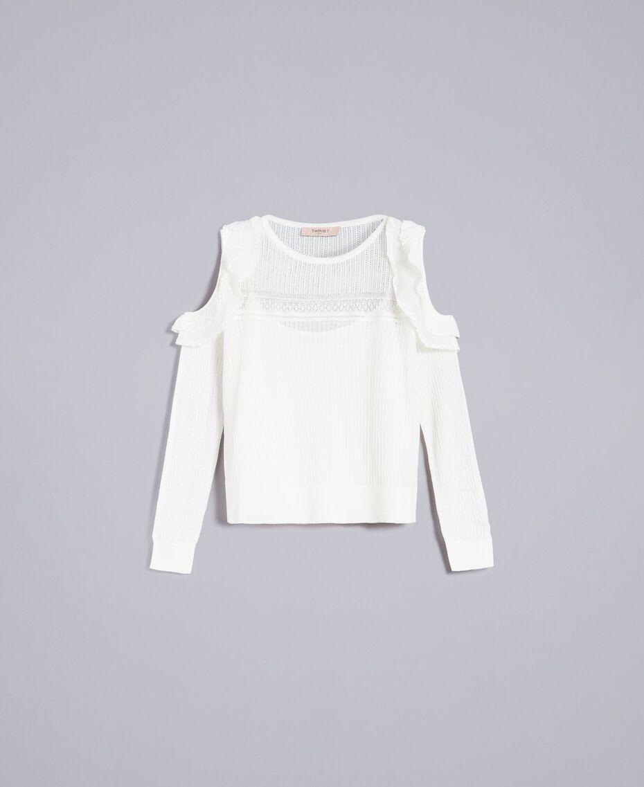 Pullover aus Wollmischung mit Mustermix Weiß Schnee Frau PA83C3-0S
