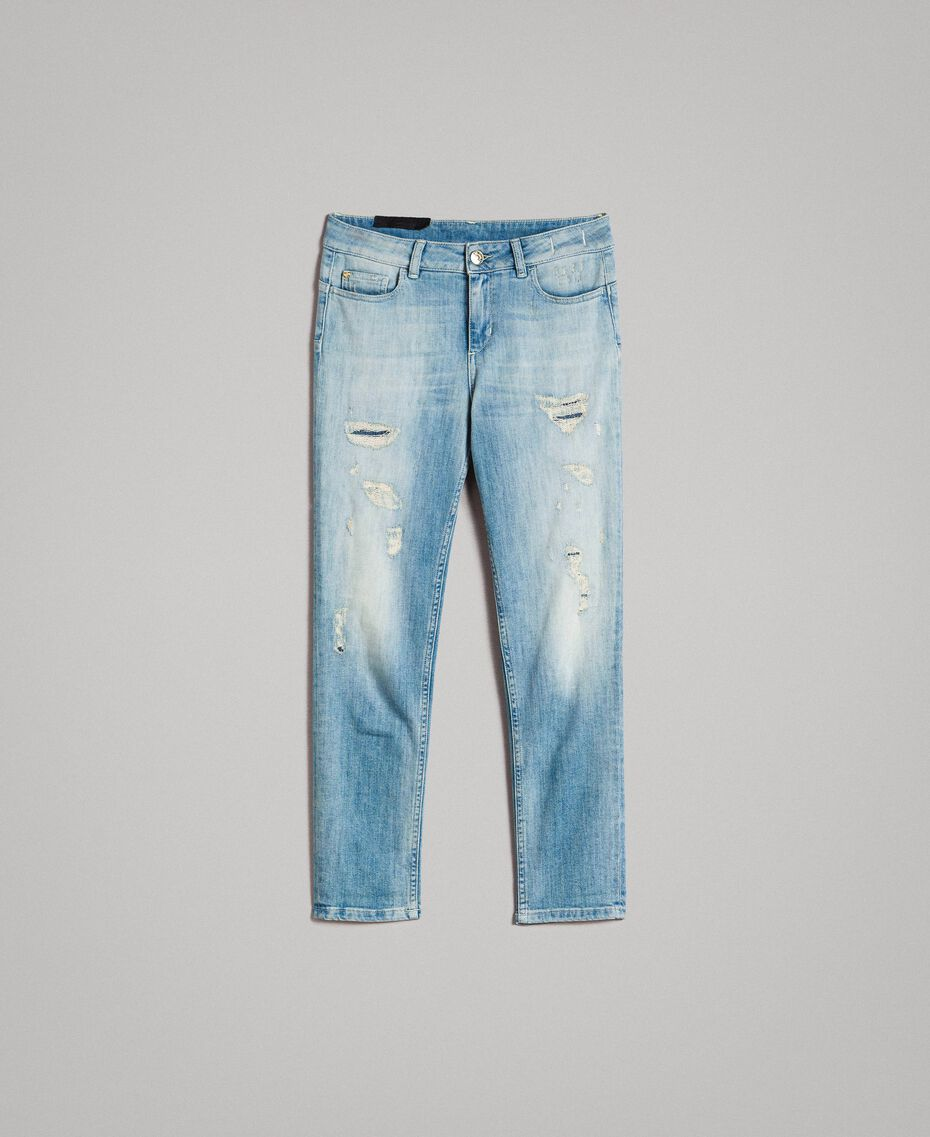 Skinny jeans with rips Denim Blue Woman 191MP2472-0S