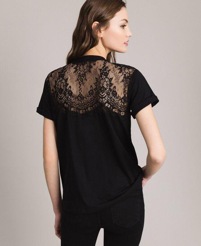 Lace and rhinestones T-shirt Black Woman 191TP2603-04