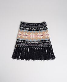 Jacquard knit collar-scarf with fringes Indigo Woman 192MO530C-01
