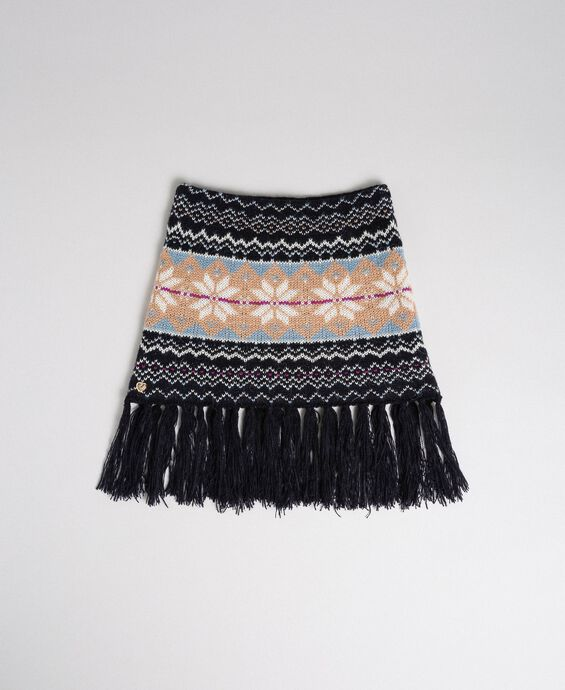 Jacquard knit collar-scarf with fringes
