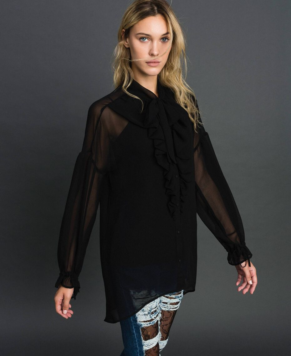 Long asymmetric georgette shirt Black Woman 192MT2062-02
