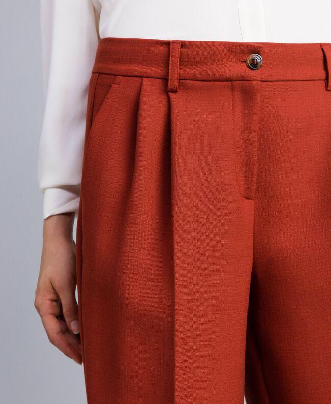 Pantaloni palazzo in lana bistretch Bruciato Donna TA8272-04