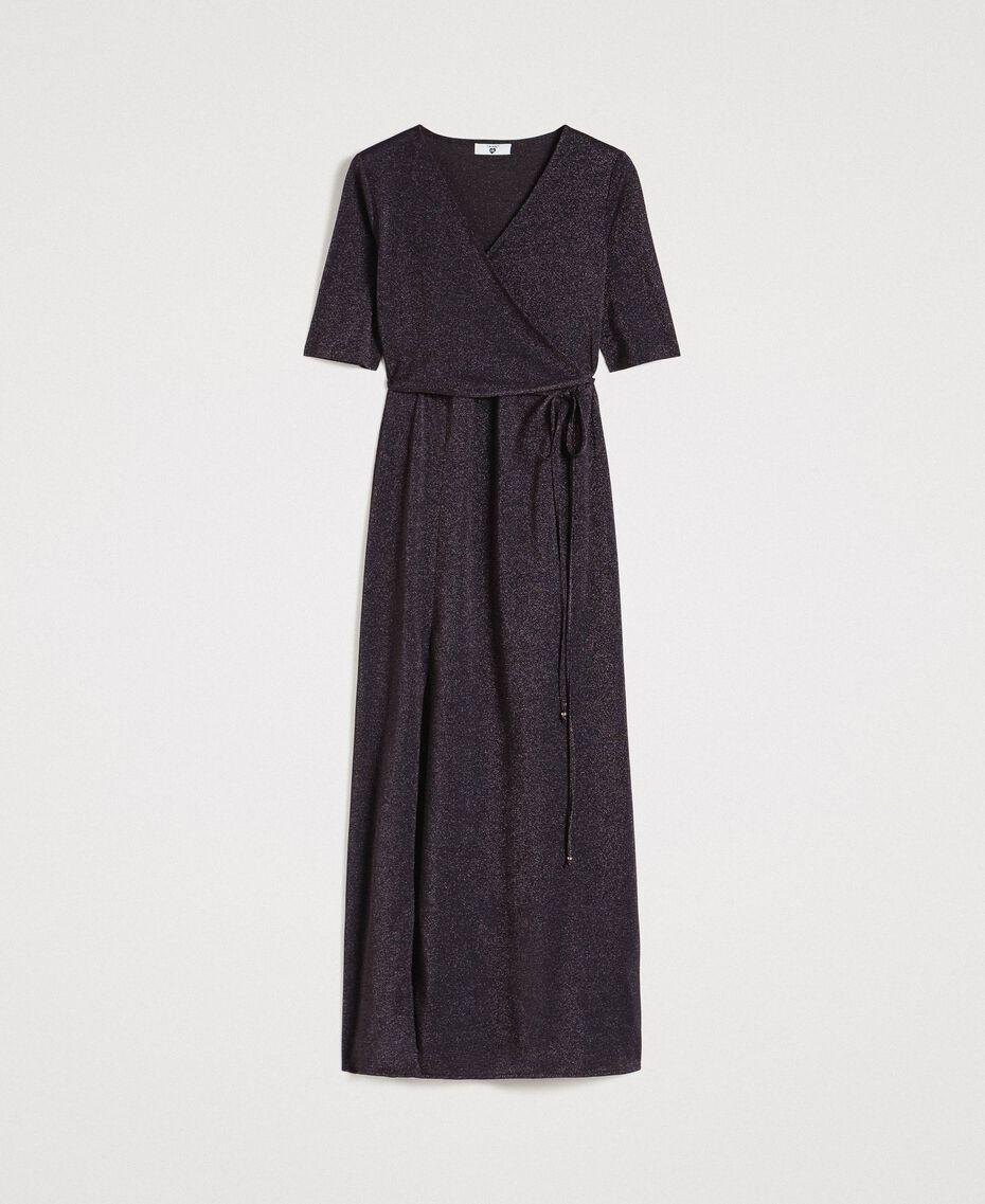 Lurex long dress with slit Black Woman 191LB23EE-0S