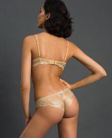 Laminated lace Brazilian briefs Gold Yellow Woman 192LL6H77-03