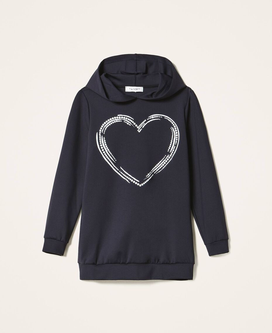 Scuba maxi sweatshirt with heart Black Child 202GJ2701-0S