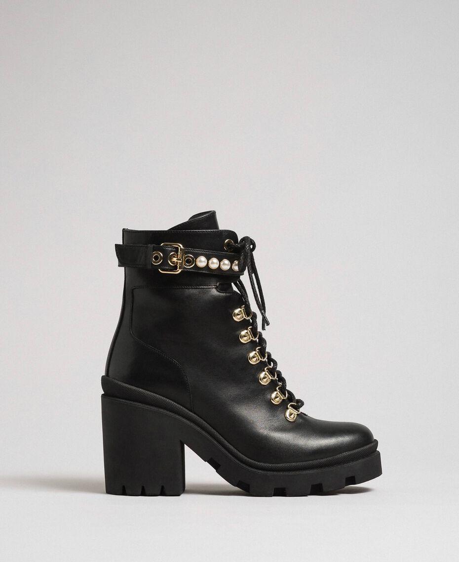 Schnürstiefelette aus Leder mit hohem Absatz und Perlen Schwarz Frau 192TCP01C-02
